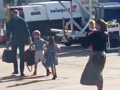 William, Kate and their children take a budget flight to visit the Queen.