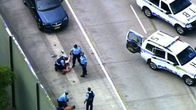 Police have arrested two men over the car robbery and lengthy chase. (9NEWS)