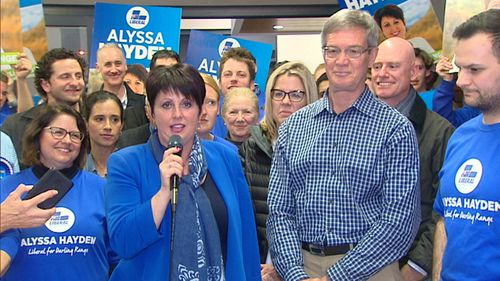 Alyssa Hayden celebrates her win with Opposition Leader Mike Nahan. Picture: 9NEWS