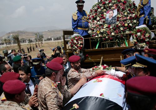 Houthi Shiite mourners attend the funeral of Saleh al-Samad, a senior Houthi official who was killed by a Saudi-led coalition airstrike believed carried out by a Chinese drone in Sanaa, Yemen, earlier this year.