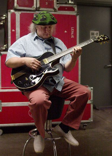 British rock and blues guitarist Peter Green, a founding member of Fleetwood Mac, backstage before performing with his own band, Peter Green's Splinter Group, at B.B. King Blues Club & Grill, in New York. (Photo: Saturday, April 7, 2001)