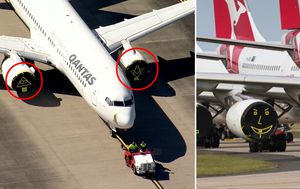 Qantas weighs in after symbols on engine covers stir up conspiracy theorists