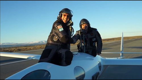Chief pilot Jim Payne and co-pilot Morgan Sandercock - Payne has said time goes by quickly flying the aircraft