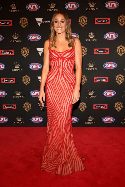 Elli Brashaw, partner of Nat Fyfe, at the 2018 Brownlow Medal, September, 2018