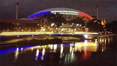 South Australian Premier Jay Weatherill has said the Adelaide Oval will be lit in the colours of the French flag this evening, tweeting this image.