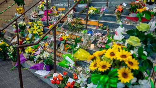 Flowers placed in Humboldt to honour the victims. (AP).