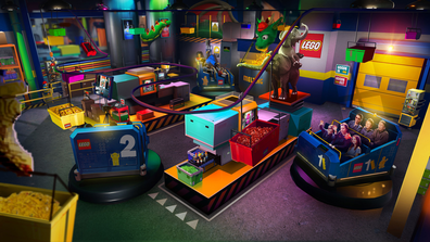 Legoland New York: The Lego Factory Adventure puts you in the middle of construction.