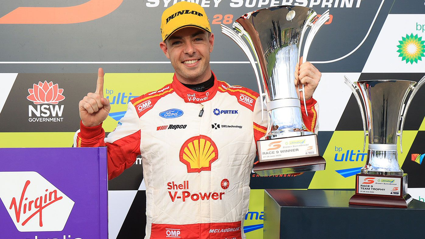 Scott McLaughlin driver of the #17 Shell V-Power Racing Team Ford Mustang celebrates after winning race nine
