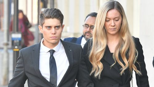 Cricketer Alex Hepburn arrives at court with a woman.