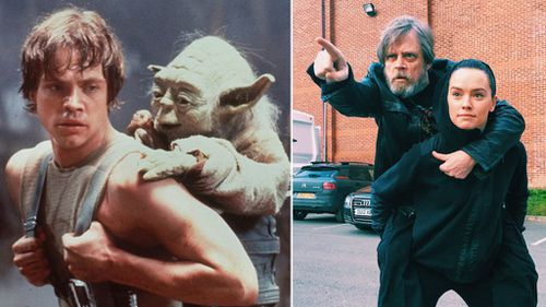 'Star Wars' star Mark Hamill recreates iconic Yoda training pose with newcomer Daisy Ridley