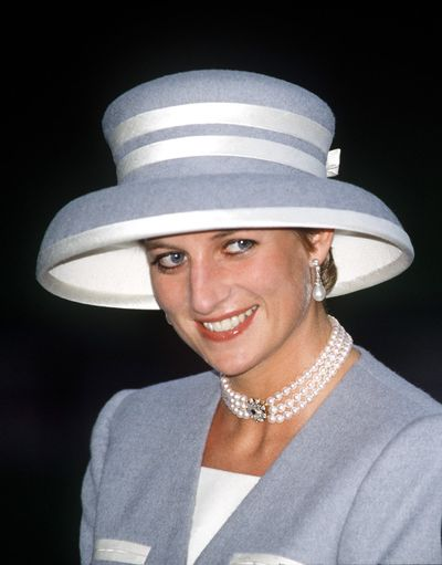 Princess Diana at the wedding of Viscount Linley to Serena Stanhope in 1993