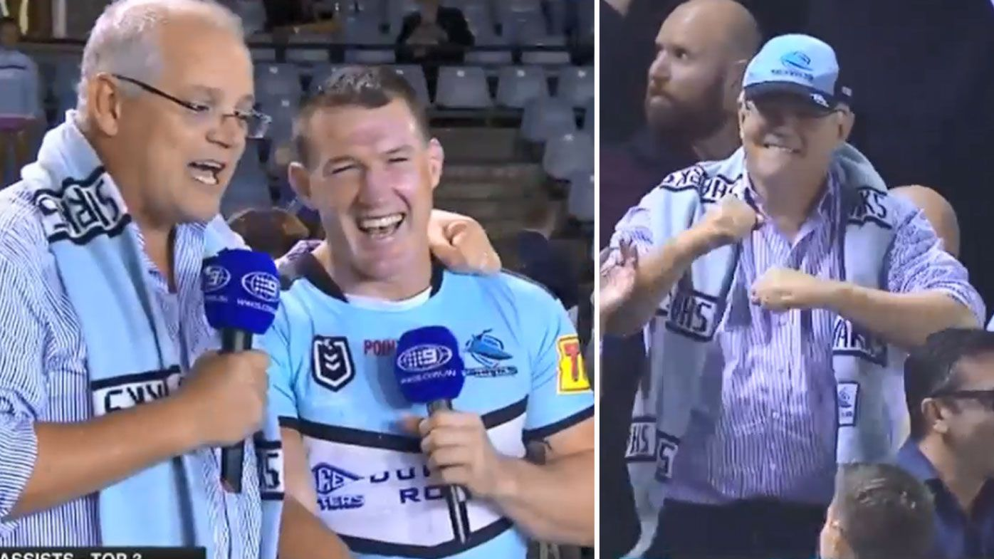 Prime Minister Scott Morrison roasted by NRL legend in celebrating Sharks comeback win over Penrith