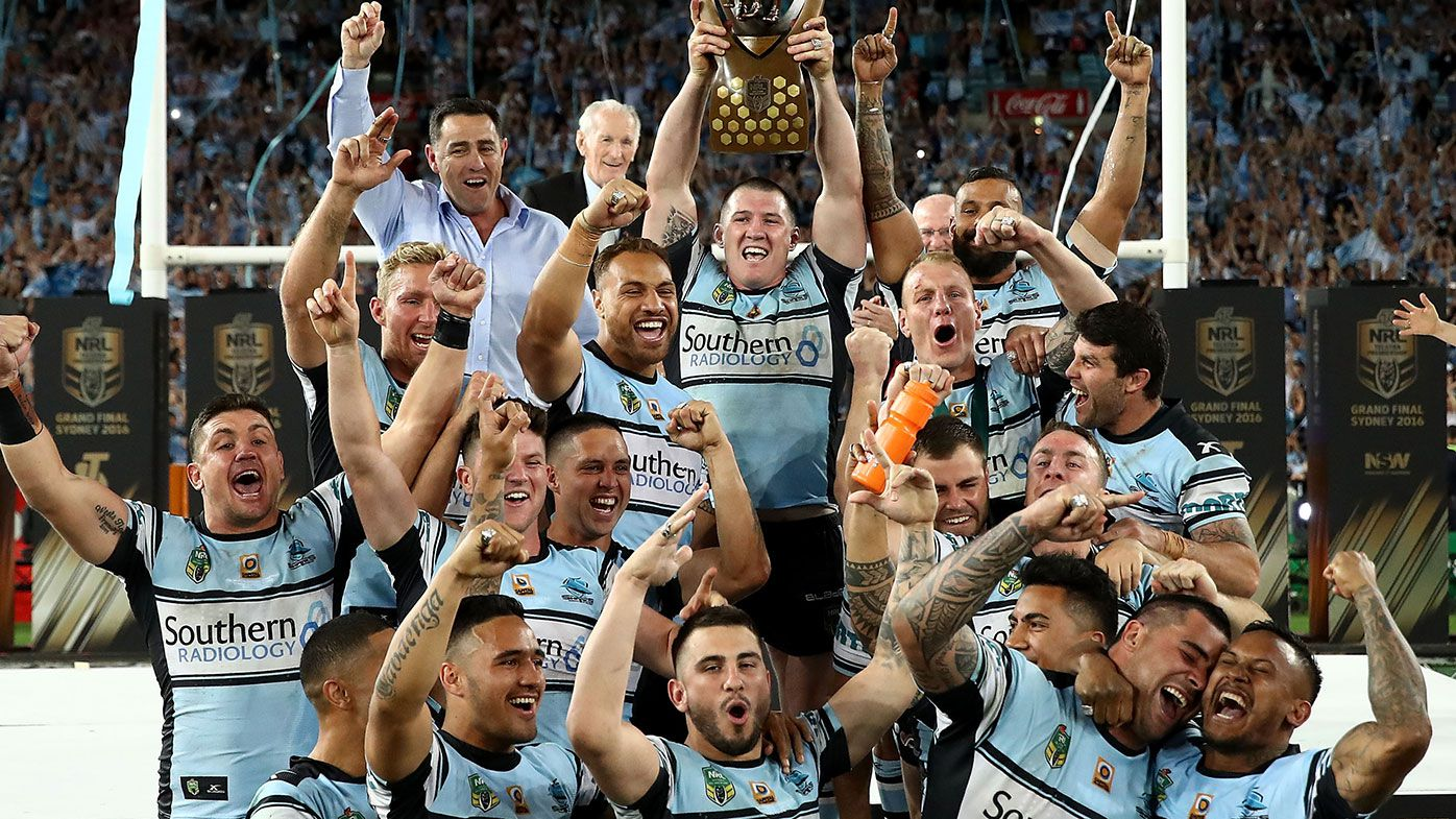 Cronulla Sharks players celebrate their 2016 NRL premiership