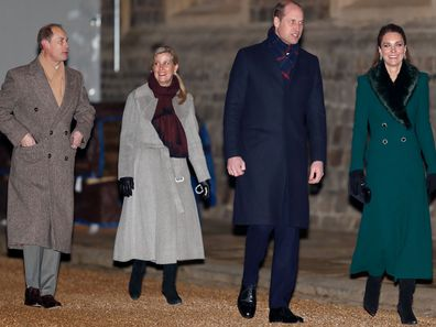 Prince Edward, Earl of Wessex, Sophie, Countess of Wessex, Catherine, Duchess of Cambridge and Prince William, Duke of Cambridge attend an event to thank local volunteers and key workers from organisations and charities in Berkshire, who will be volunteering or working to help others over the Christmas period in the quadrangle of Windsor Castle on December 8, 2020 in Windsor, England