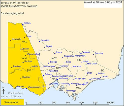 Severe thunderstorm warning issued for western Victoria