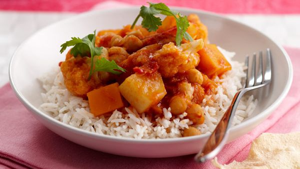 Pumpkin, cauliflower & chickpea curry for $10