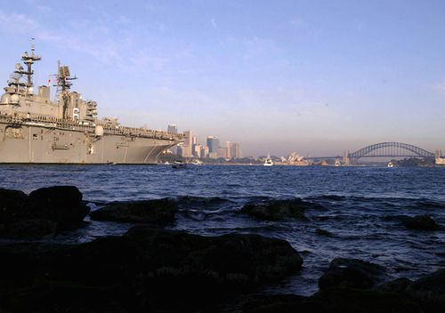 A US warship makes its way up Sydney Harbour June 20, 2003 in Sydney, Australia. Five US warships arrived in Sydney for a weekend stay after serving in the Persian Gulf.