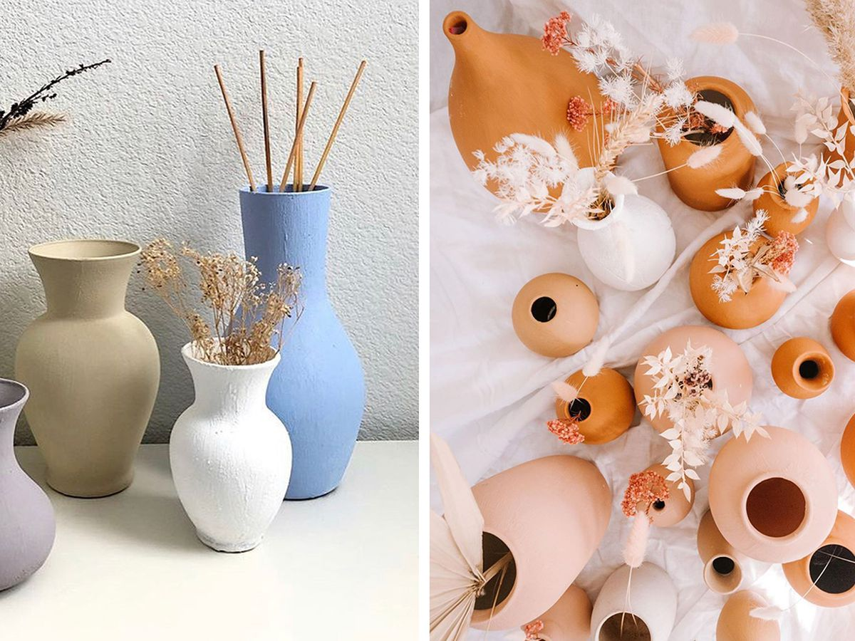 DIY terracotta ceramic vases painted: How to turn mismatched