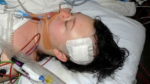 April-lee Gillen in hospital after the alleged abduction. (NSW Police)
