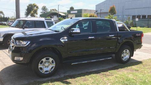 The black 2017 Ford Ranger. (Victoria Police)