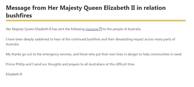 Queen Elizabeth's statement to Australia during the bushfire crisis.