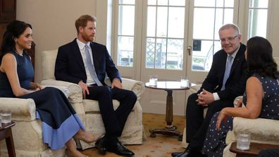 Jenny Morrison and Scott Morrison host Prince Harry and Meghan Markle for afternoon tea