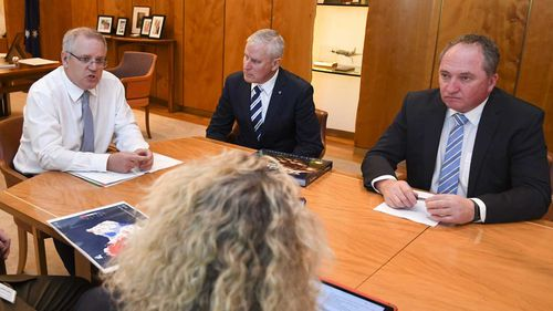 Prime Minister Scott Morrison with Michael McCormack and Barnaby Joyce.
