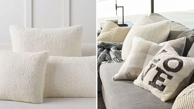 Faux sheepskin cushions