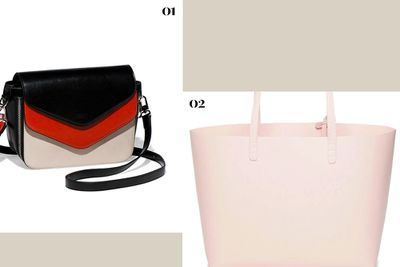 "<p><b>01.</b> <a href=""https://www.cue.cc/Shop/Product/The-Contrast-Sling-Bag-B00062-W15/262564"" target=""_blank"">The Contrast Sling Bag, $159, Cue</a></p><p><b>02.</b> <a href=""http://www.boutique1.com/calf-coated-tote-bag-331149"" target=""_blank"">Calf Coated Tote Bag, $797, Mansur Gavriel</a></p>"