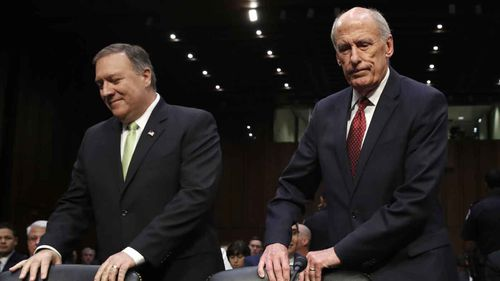 CIA Director Mike Pompeo and Director of National Intelligence James Clapper. (AAP)