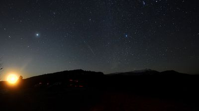 The meteor shower above Macedonia. Geminid is one  of the meteor showers visible in both hemispheres. (Getty Images)