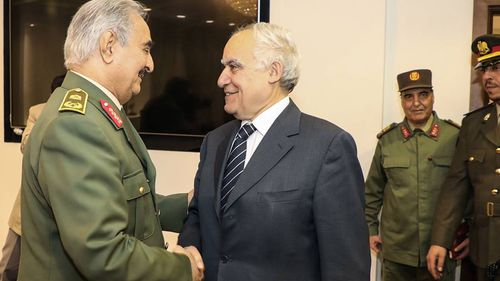 Ghassan Salame (Left), Special Representative of the Secretary-General and Head of UNSMIL (Centre) shaking hands with commander of the Libyan National Army.