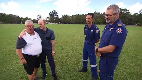 Steve Van Meeteren was reunited with the team who helped save his life with minutes to spare earlier this month after a stabbing attack in his Wyong corner store.