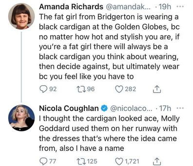 Nicola Coughlan defended herself against someone on Twitter.