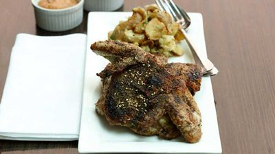 "Recipe: <a href=""http://kitchen.nine.com.au/2016/05/05/15/43/zaatarroasted-whole-baby-chicken-with-lemon-and-garlic-baked-potatoes"" target=""_top"">Za'atar-roasted whole baby chicken with lemon and garlic baked potatoes</a>"