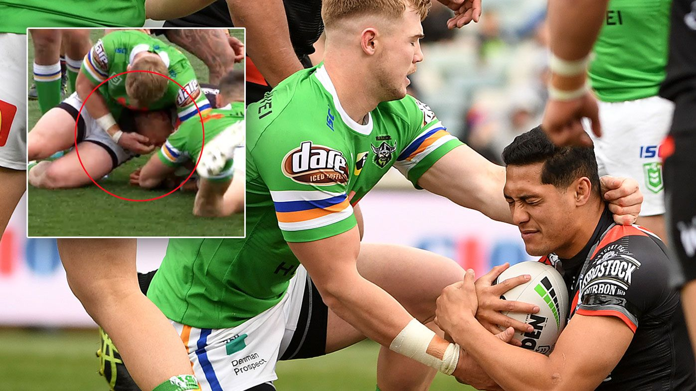 Raiders' Hudson Young was caught giving his opposition an eye gouge