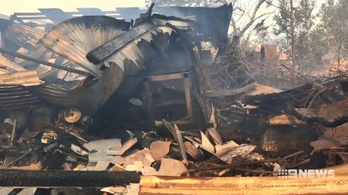 Only a warped wreck remained after a bushfire tore through Norwra.