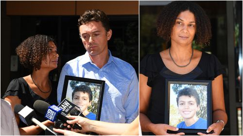 Louis' parents, Gabrielle Catan and Simon Tate, outside the Coroner's Court of Victoria today (9NEWS)