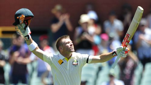 David Warner reaches his tenth Test hundred. (9NEWS)