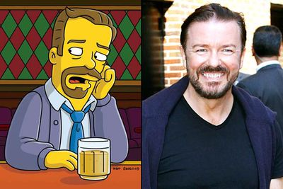 """<B>Appeared in:</B> 'Homer Simpson, This Is Your Wife' (2006), which he wrote; and 'Angry Dad — The Movie"""" (2011). In his first appearance Ricky played a reality TV star who became obsessed with Marge when they appeared together in a <I>Wife Swap</I>-style show; he played himself in his second appearance, when the Simpsons attended the Golden Globes.<br/><br/><B>Best line:</B> [Serenading Marge] """"Lady, when you go away/I feel like I could die/Not like dye like your hair is dye/But die like Lady Di/And not like Di like her name is Di/But die like when she died."""""""