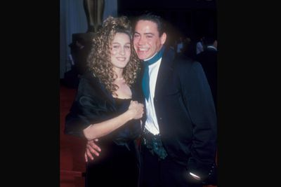 From the cheesy grin to the cummerbund, RDJ looks like he's taking SJP to their high school prom, not the Academy Awards! We forgive them because they're totally adorable. <br/>