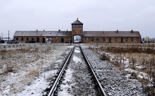 The railway at Auschwitz that carried prisoners in packed cattle trucks to the entrance of the concentration camp.