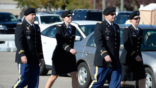 The prosecution team led by Major Justin C. Oshana, return to the Ft. Bragg military courthouse for the sentencing of Bowe Bergdahl. (Getty)