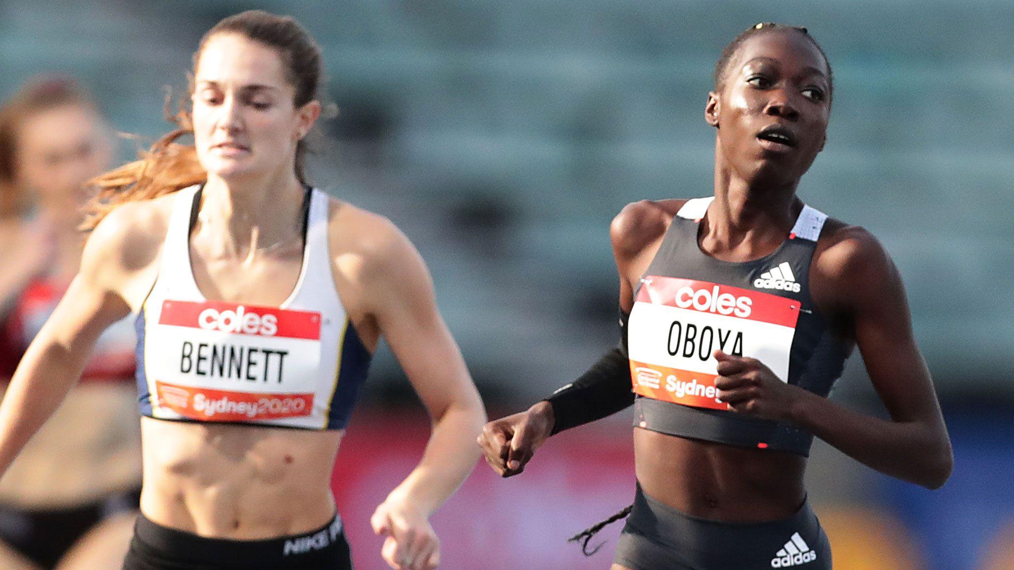 Bendere Oboya wins ahead of Rebecca Bennett.