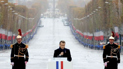 French President Emmanuel Macron delivers a speech during the international ceremony for the Centenary of the WWI Armistice of 11 November 1918 at the Arc de Triomphe in Paris, France.