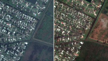 Before (left) and after (right) images of mobile homes along Flounder Drive and Tuna Lane
