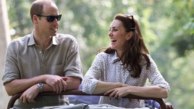 William and Kate laugh and talk on the Kaziranga safari.