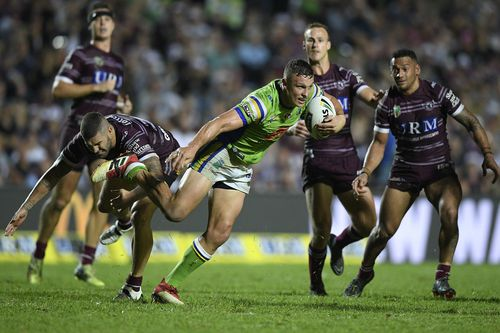 Jack Wighton of the Raiders is tackled by Joel Thompson of the Sea Eagles during the Round 4 NRL match between the Manly-Warringah Sea Eagles and the Canberra Raiders last month. (AAP)