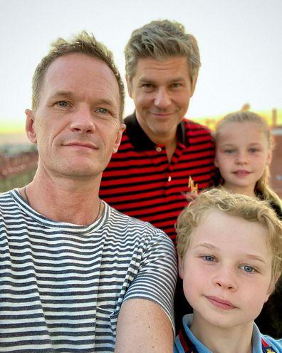 Neil Patrick Harris, husband David Burtka and twins Harper and Gideon.