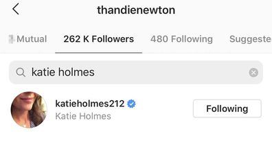 Katie Holmes is now a recent follower of Thandie Newton.